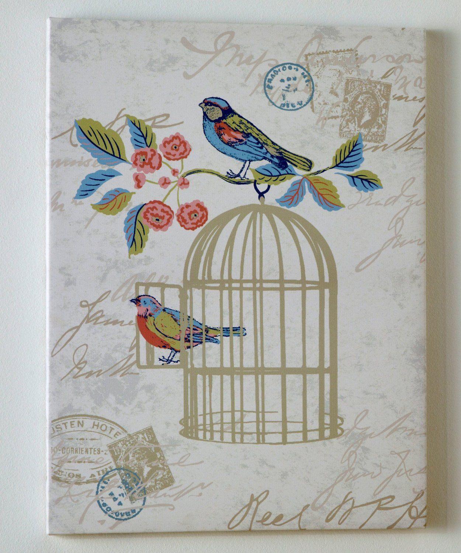 Shabby Chic Canvas Wall Art Bird Cage Wall Decor Blue Cream Beige Green Red Bedroom 45cm X 60cm Amazon Co Shabby Chic Wall Art Chic Wall Art Bird Wall Art