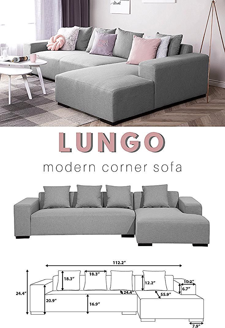 Large Comfy L Shaped Corner Sofa Great For Minimalist And Modern Living Room In 2020 Grey Sectional Sofa Sofa Design Couches Living Room