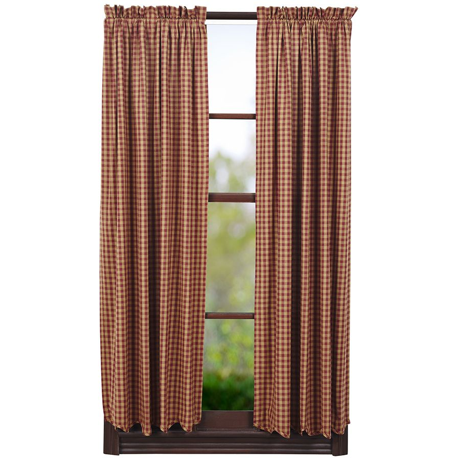 Brown plaid curtain panels - Ninepatch Star Burgundy Check Lined Short Curtain Panels 63