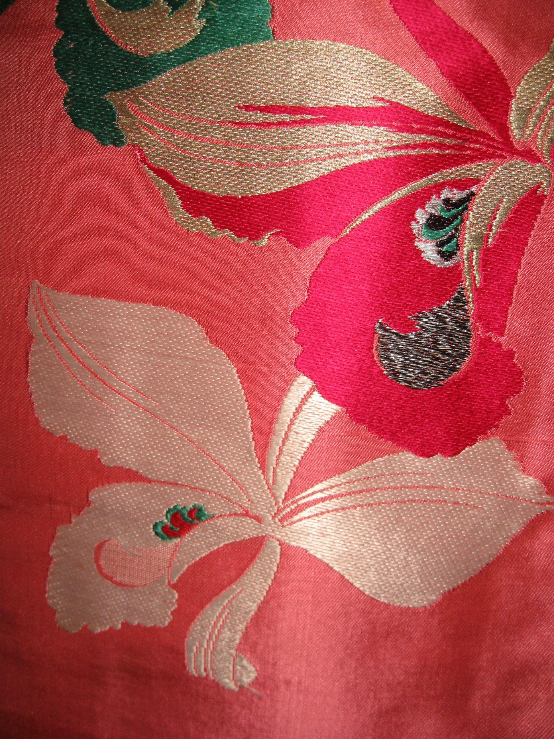 Nagoya Obi Antik Orchideen Gewebte Seide