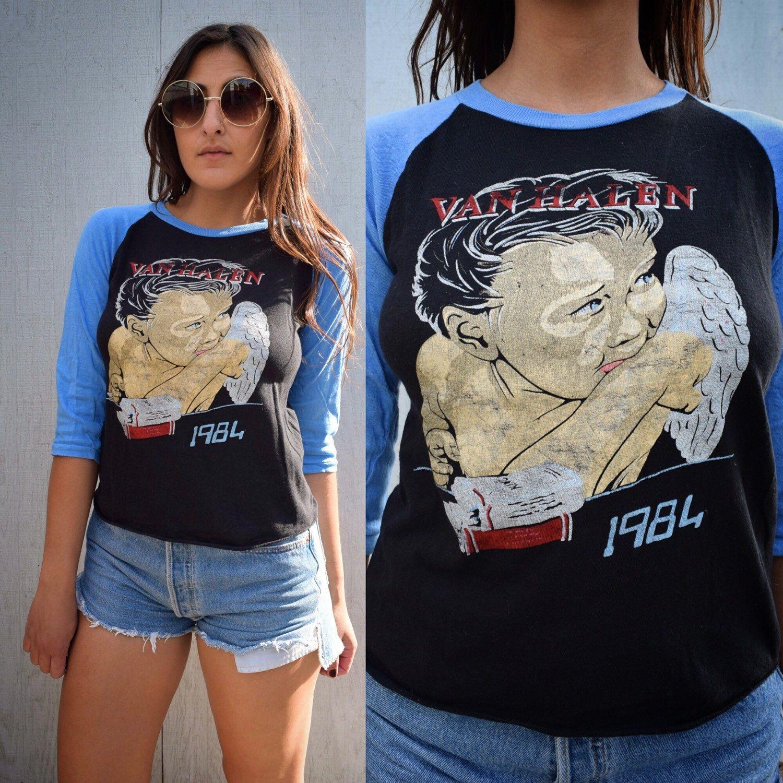 Vintage Van Halen 1984 Baseball Tee Xs S Etsy Fashion Tees Women