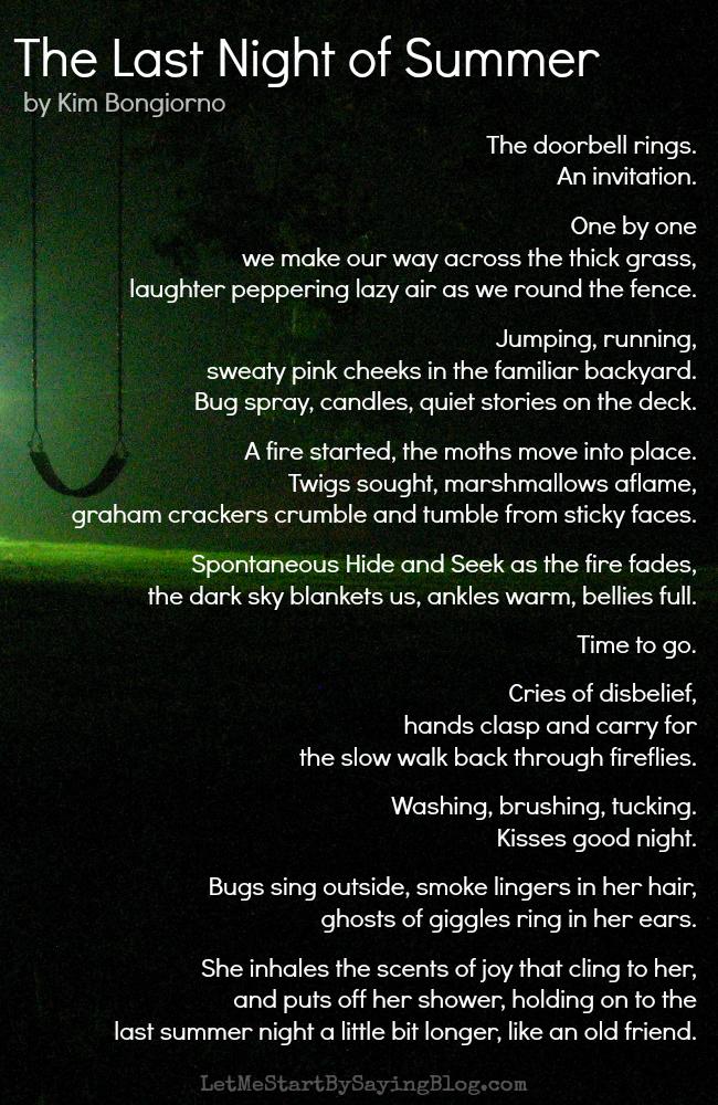 The Last Night of Summer by Kim Bongiorno @LetMeStartBySaying