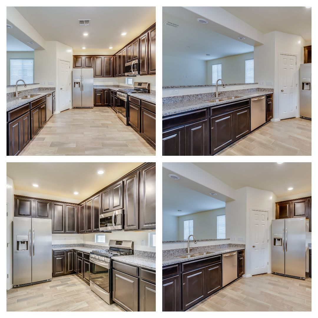 Classic dark cabinets with stainless steel appliances ...