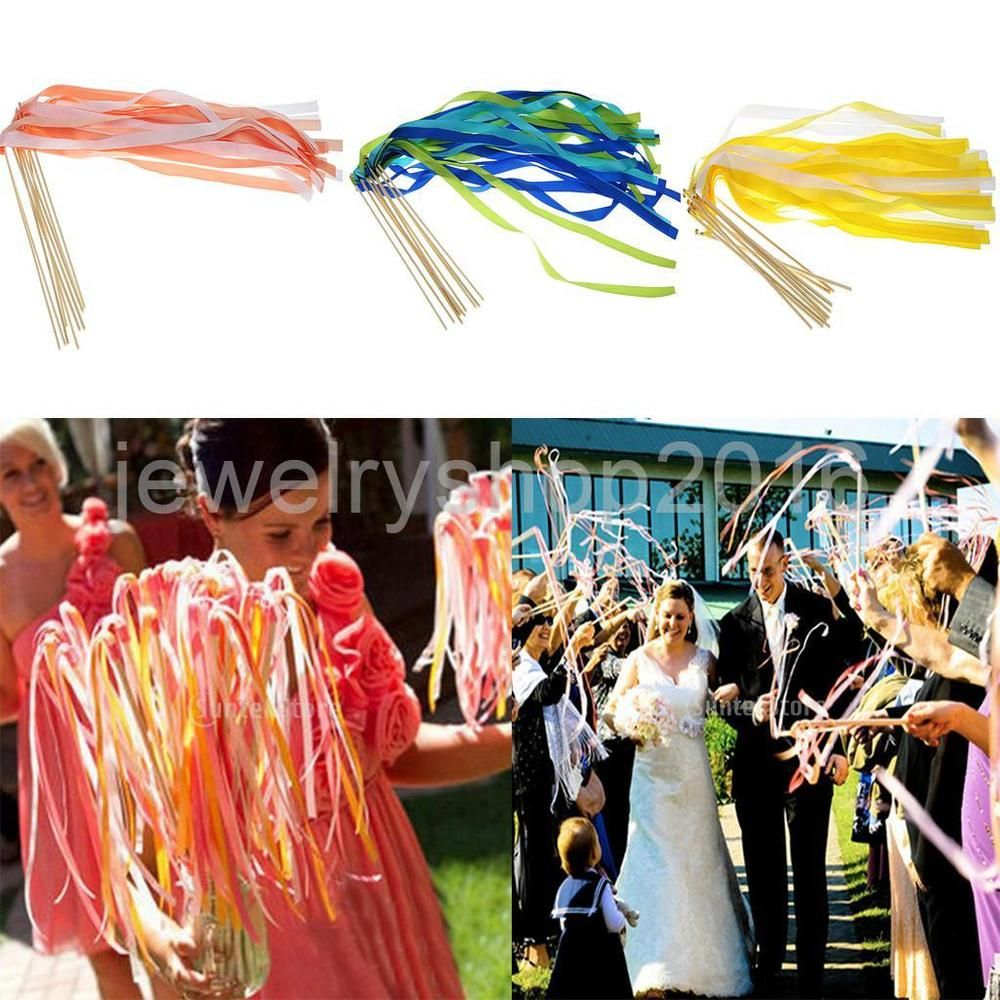 10pcs Twirling Stream Ribbon Sticks Wands With Bell Wedding Decor