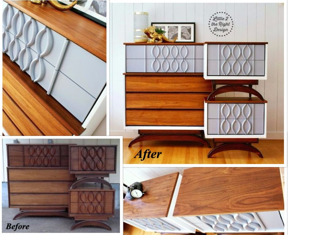 mid century modern furniture restoration. amazing transformation of a #mcm mid century modern vicart dresser set! features restored walnut furniture restoration d