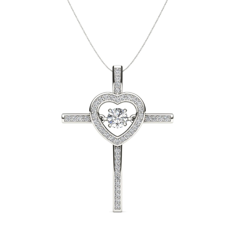 De couer k white gold ct tdw diamond heart beat cross neckalce