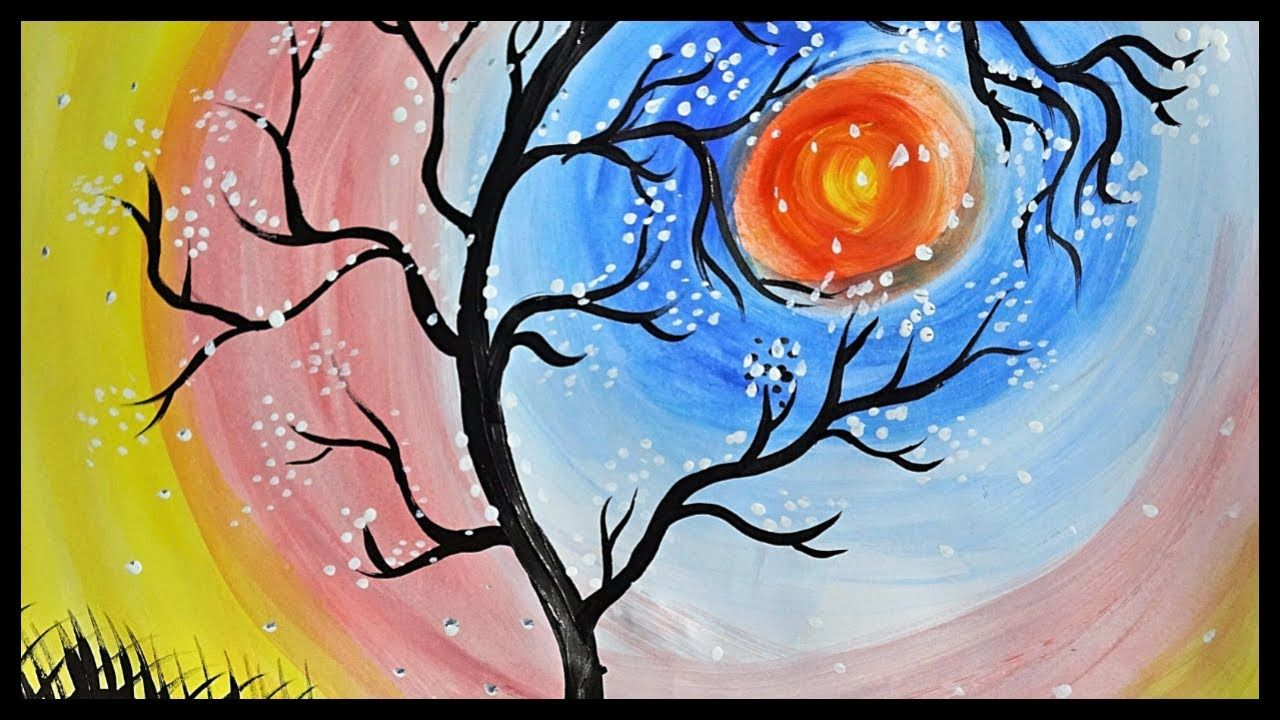 Water Color Scenery Of A Tree Poster Color Painting