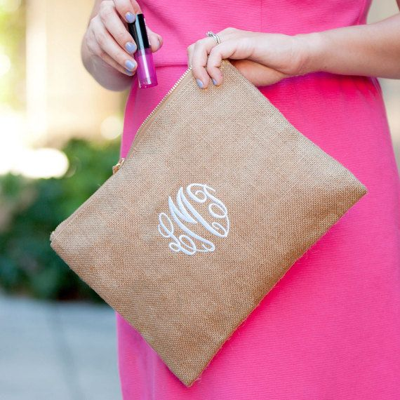 Monogram Burlap Zip Pouch, Burlap Clutch, Bridal Burlap Clutch, Bridal party clutch