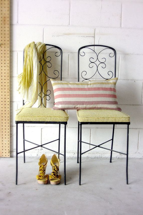 Pair Of Vintage Wrought Iron Chairs Yellow Seat Cushions Sunny