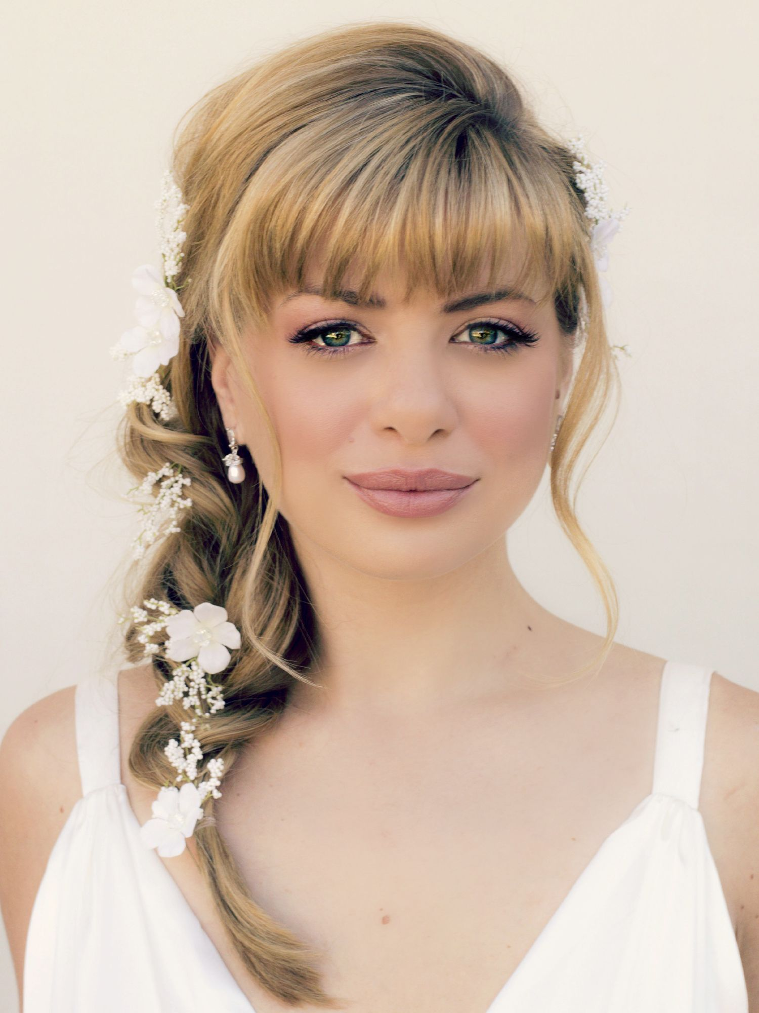 wedding hairstyles half up with bangs - google search | isabelle