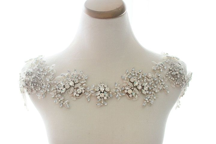 Bridal Dress Shoulder Necklace Statement Chain Strap Body Wedding Party sparkle Jewelry Silver Rhinestone Crystal Chain Women Prom Accessory