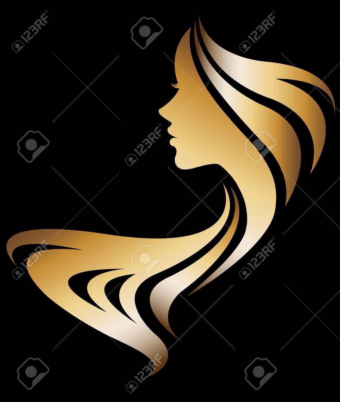 illustration vector of women silhouette golden icon, women