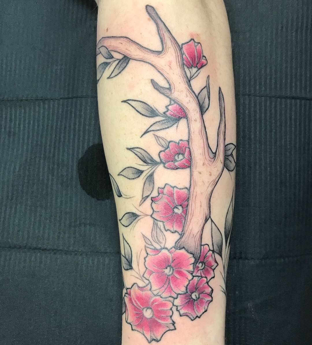 Antler and blossoms tattoo by milan mone of lone star