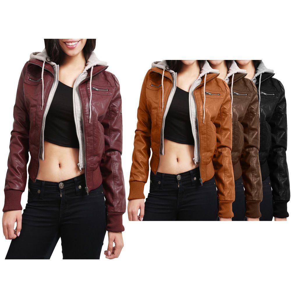 NE PEOPLE Women's Light Weight Faux Leather Moto Jacket
