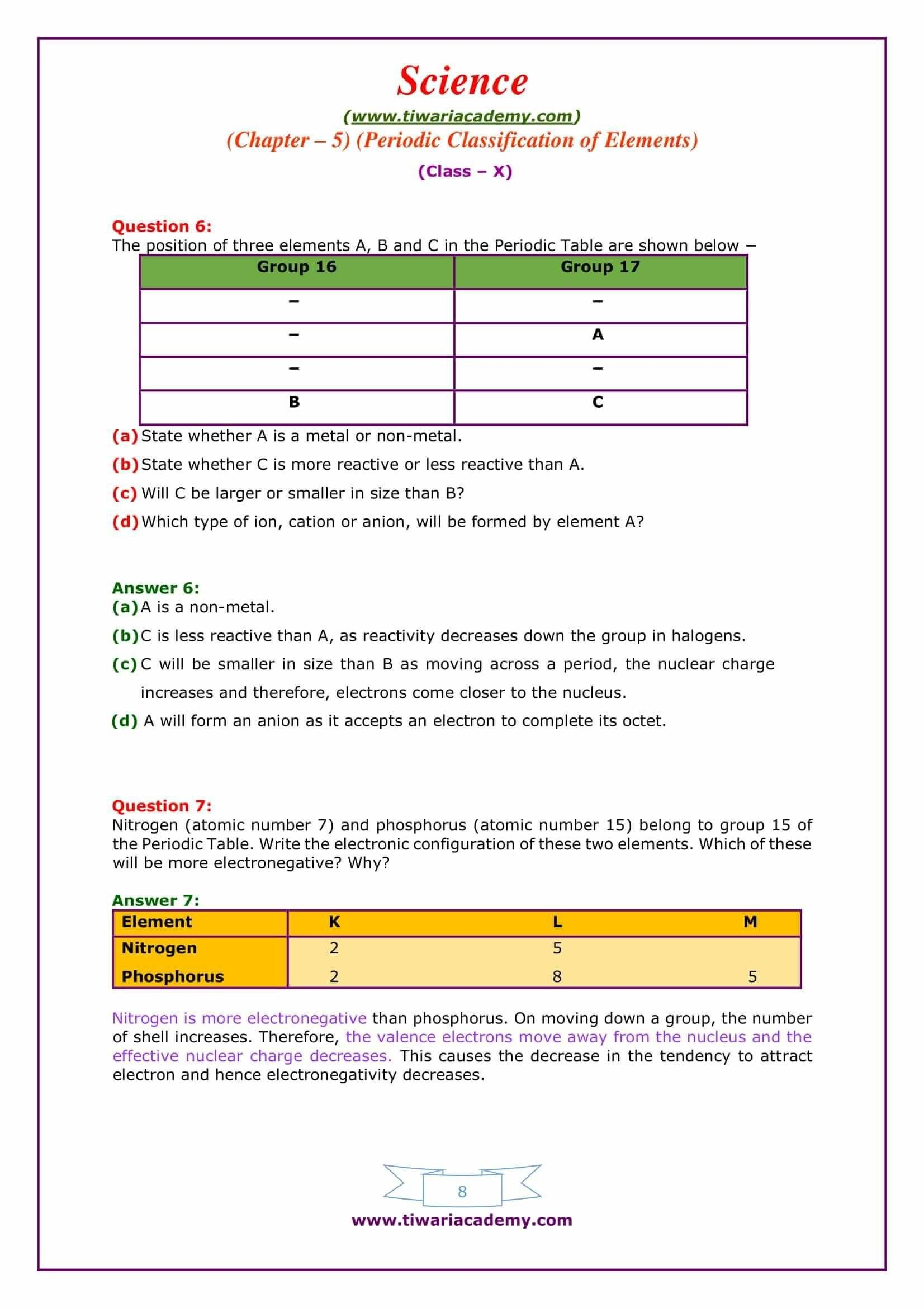 Periodic Table Webquest Worksheet Answers Down A Group