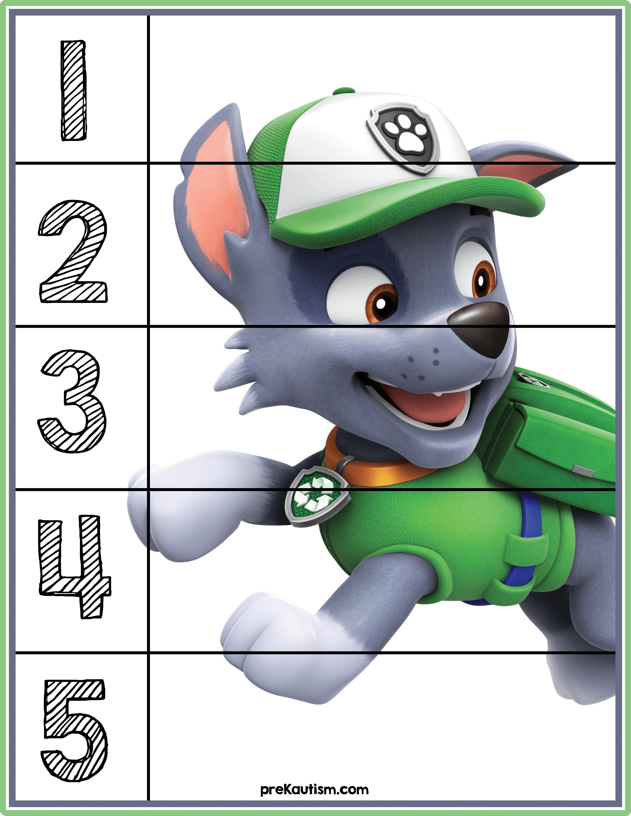 FREE! Paw Patrol #1-5 Counting Puzzle Toddler activities