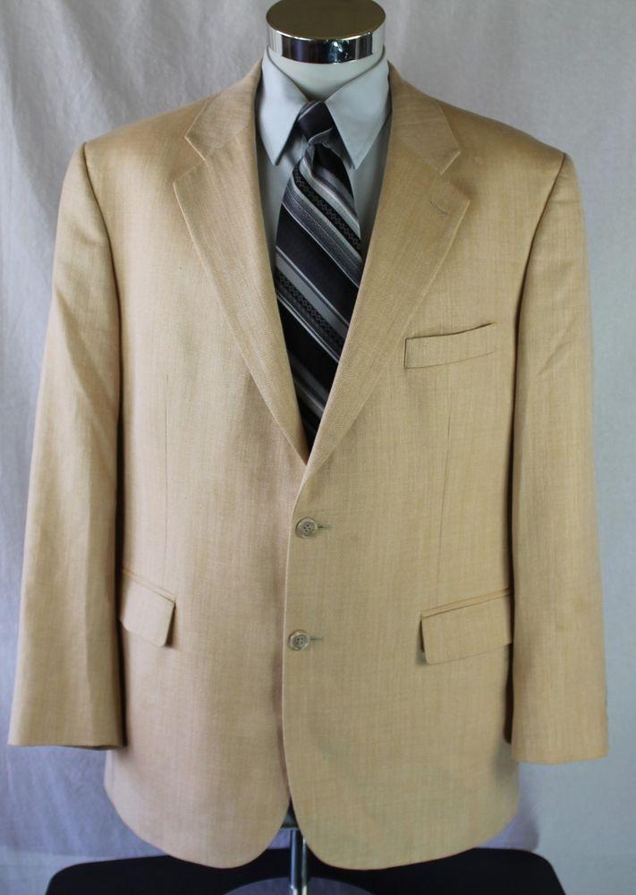 Brooks Brothers 346 Blazer Sport Coat size 45R Beige Herringbone Silk Linen Wool #BrooksBrothers #TwoButton