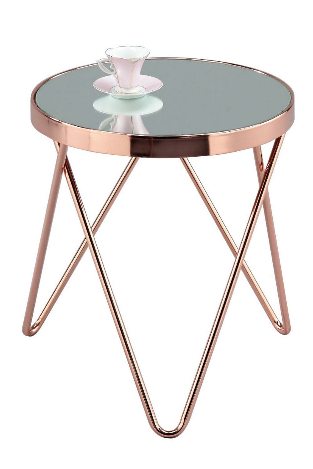 Grote Smalle Sidetable.Rose Gold Side Table Aspect Puccini Mirrored Glass Round