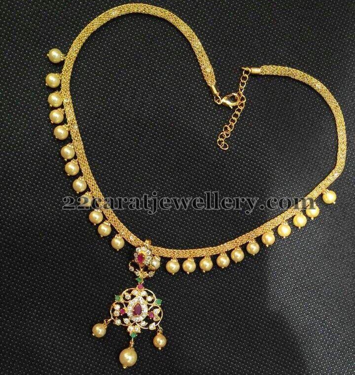 1 Gram Beads: 1 Gram Gold Simple Pearls Choker