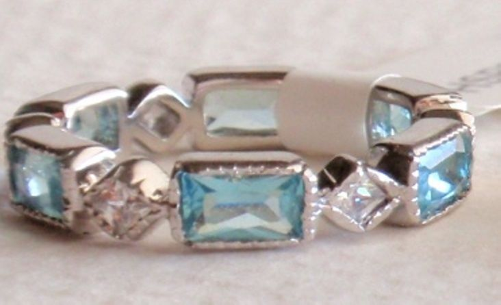 925 SILVER AQUAMARINE LIGHT BLUE or LIGHT LAVENDER CZ STACKER ETERNITY RING in Jewelry & Watches   eBay