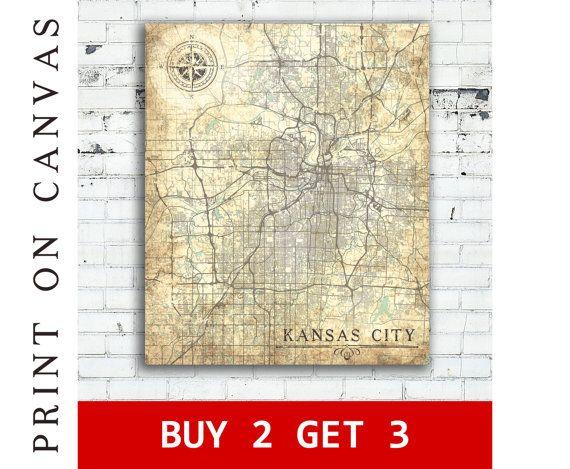 KANSAS City MO Canvas Print Missouri Vintage map Kansas City mo Wall ...