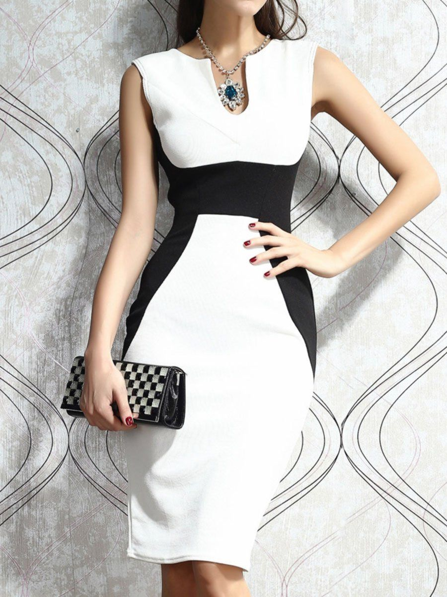 Sweet Heart Color Block Bodycon Dress