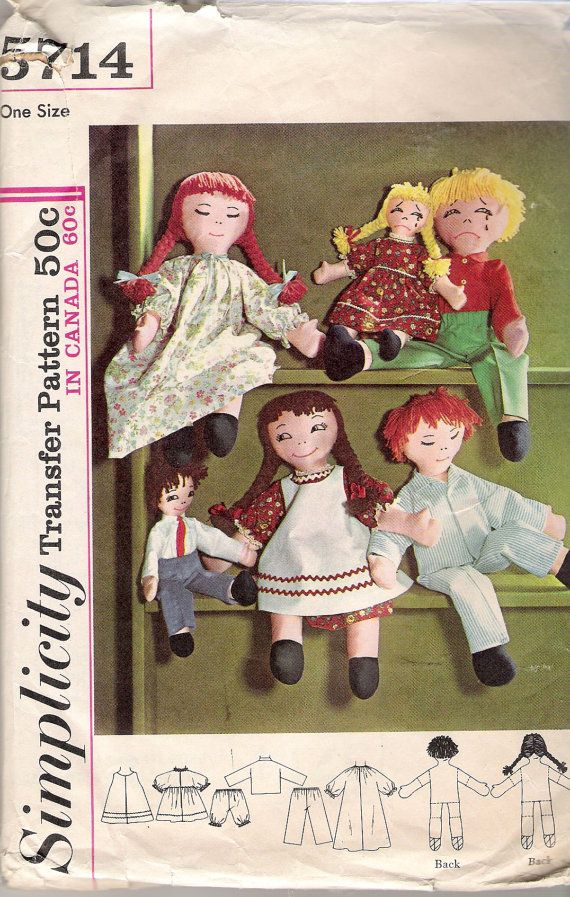 Vintage 1964 Simplicity 5714 Boy and Girl Rag Doll Sewing Pattern with Clothes UNCUT on Etsy, $5.00