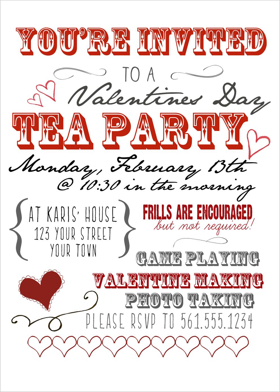 Valentine S Day Tea Party Valentines Tea Party Valentine Party Invitations Valentine Tea