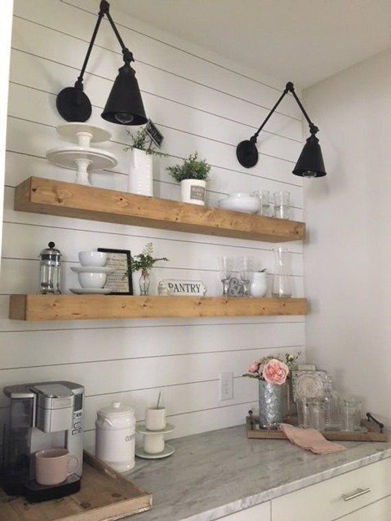 floating shelf farmhouse decor rustic shelf ledge shelf open shelving floating shelves on farmhouse kitchen shelf decor id=27072