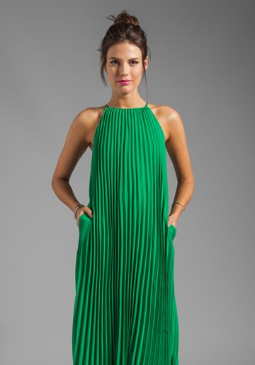 Line   Dot Pleated Maxi Dress in India Green- this is great with sandals  right now 5bd140e6e0