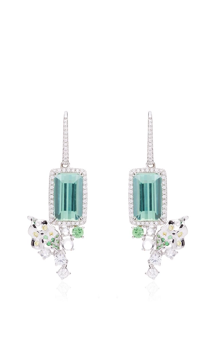 Athenas laurel tourmaline moonstone and green sapphire earrings athenas laurel tourmaline moonstone and green sapphire earrings by anna hu haute joaillerie for aloadofball Image collections