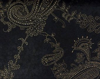 Paisley Black & Gold Velvet Dew Drops 150 cm Width Fabric By the ...
