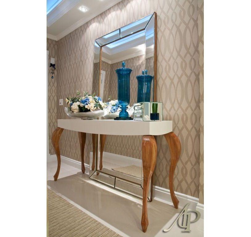 Linda combina o aparador papel de parede espelho - Papel pared entrada ...