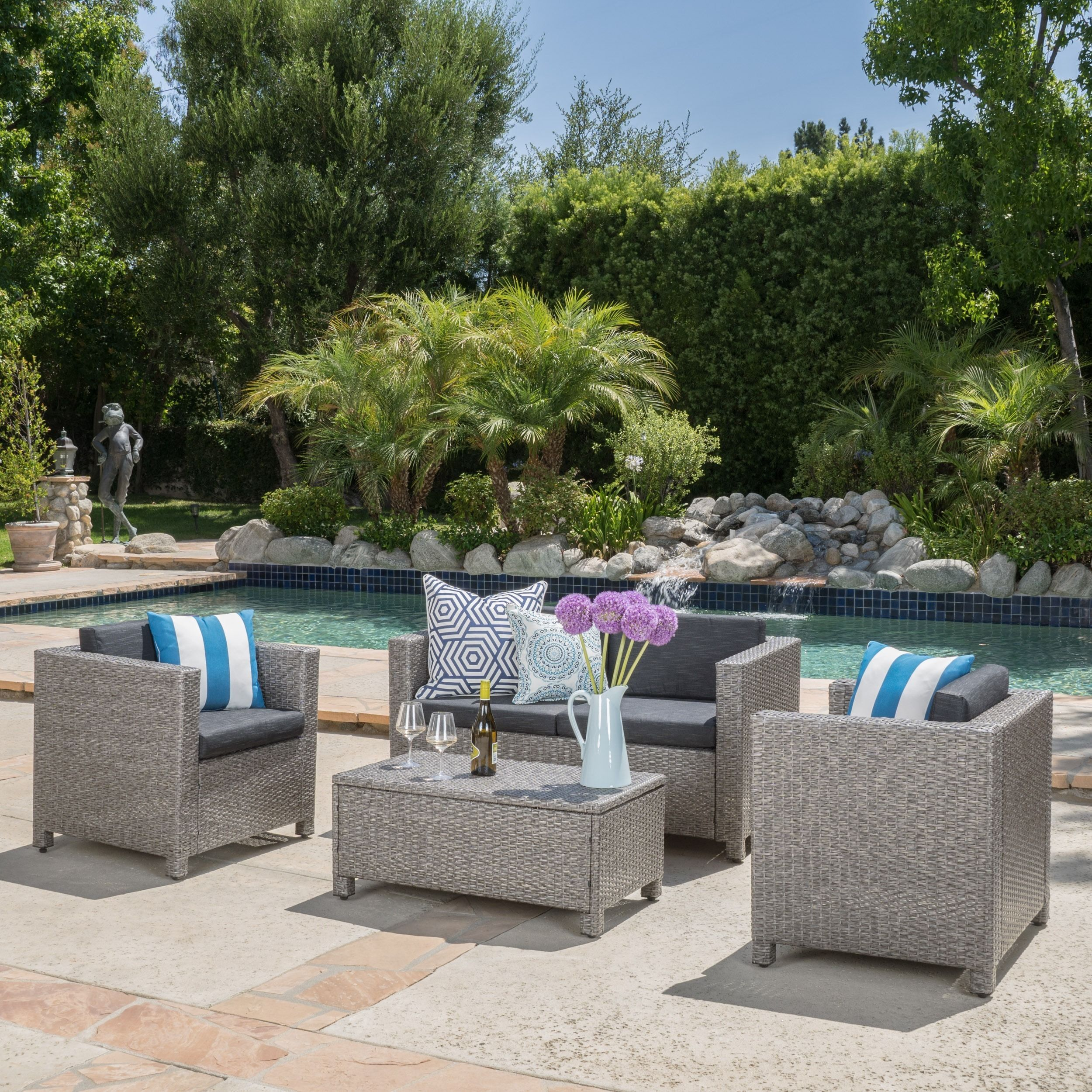 Shop For Christopher Knight Home Puerta Grey Outdoor Wicker Sofa Set