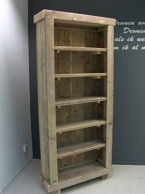 Boekenkast steigerhout H200xB90xD30cm  Voor al je mooie boeken en accessoires die je in je