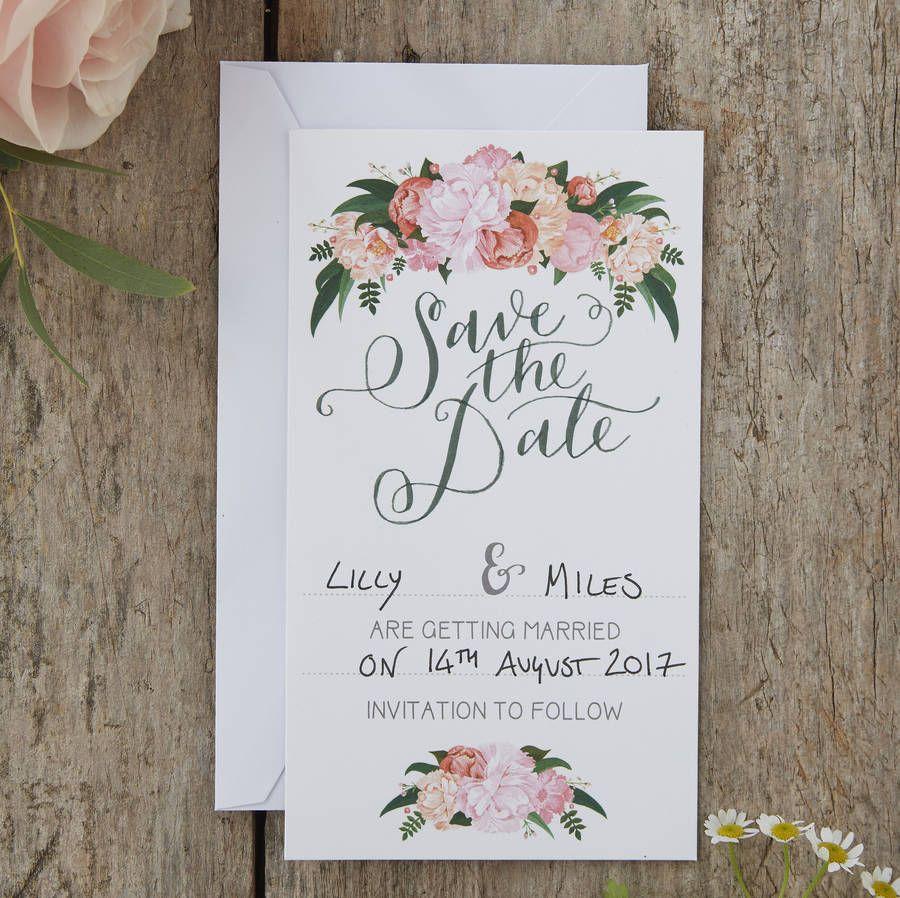 Vintage boho floral wedding save the date cards. Vintage, boho and ...