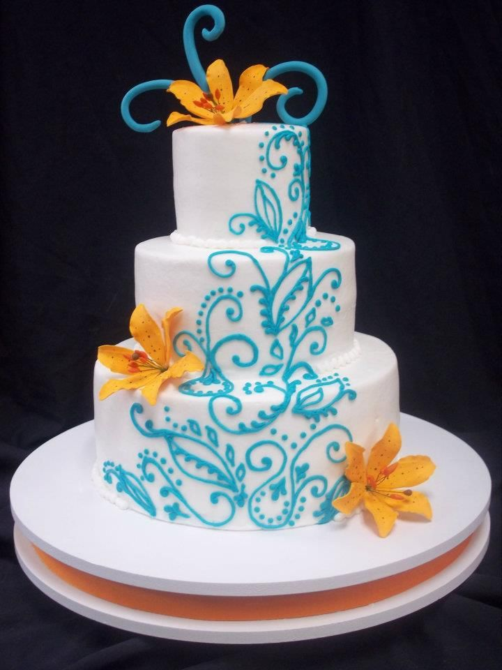 tiger lily wedding cake turquoise scroll buttercream piping orange sugar tiger 21004