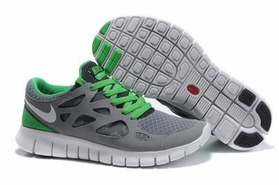 Discount Authentic Mens Nike Free Run+ 2 Running Shoes Green/Black/White