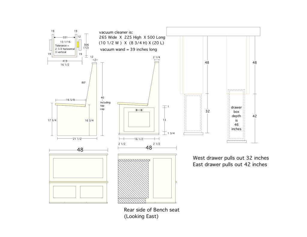 Kitchen nook dimensions