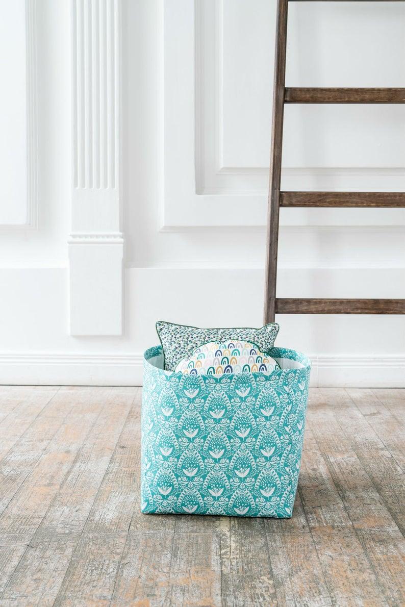 Kids Laundry Basket Sea Flowers Fabric Storage For Mom Modern