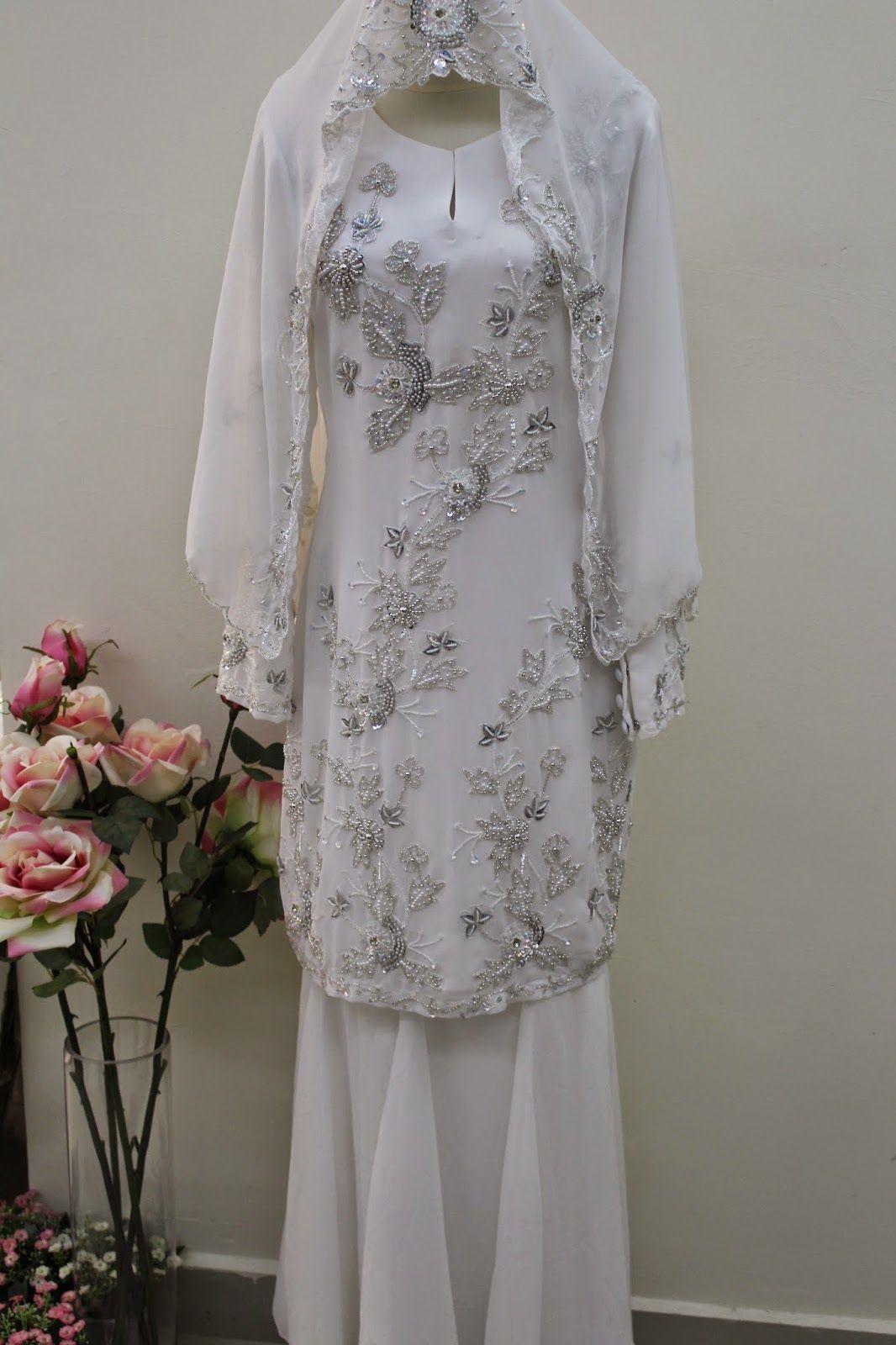 sewa baju pengantin dan andaman zahra kurung moden putih
