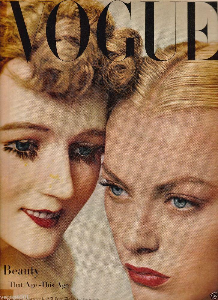 VINTAGE VOGUE  MAGAZINE  NOVEMBER 1, 1945 BLUMENFELD COVER