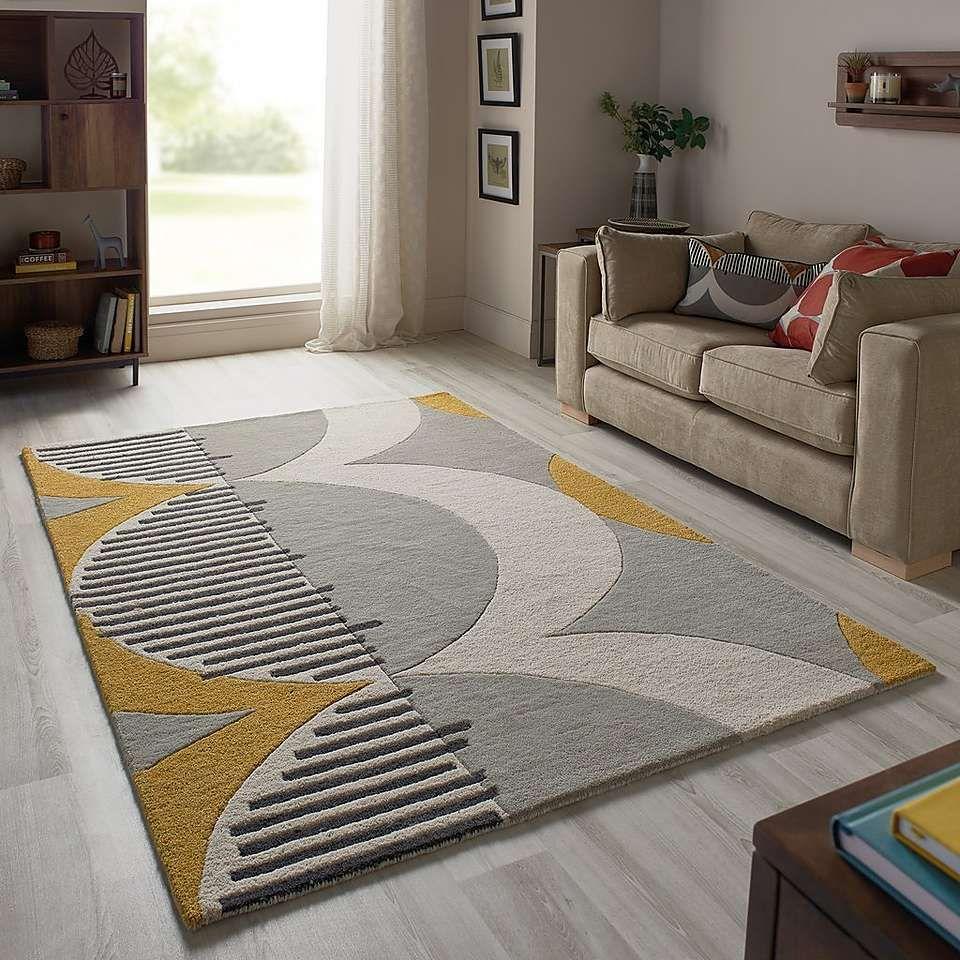 Elements Ochre Shield Wool Rug Modern Rugs Living Room Mo