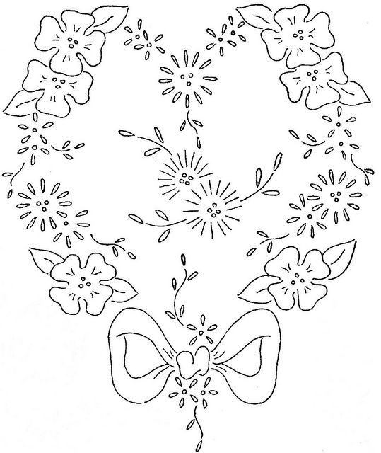 Hearts and flowers embroidery patterns | Сделай сам | Pinterest ...