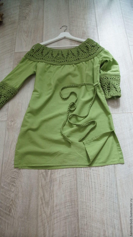 fcb2fea5c776388 Купить Льняное платье с вязаной кокеткой - однотонный, ярко-зелёный, лен 100 %