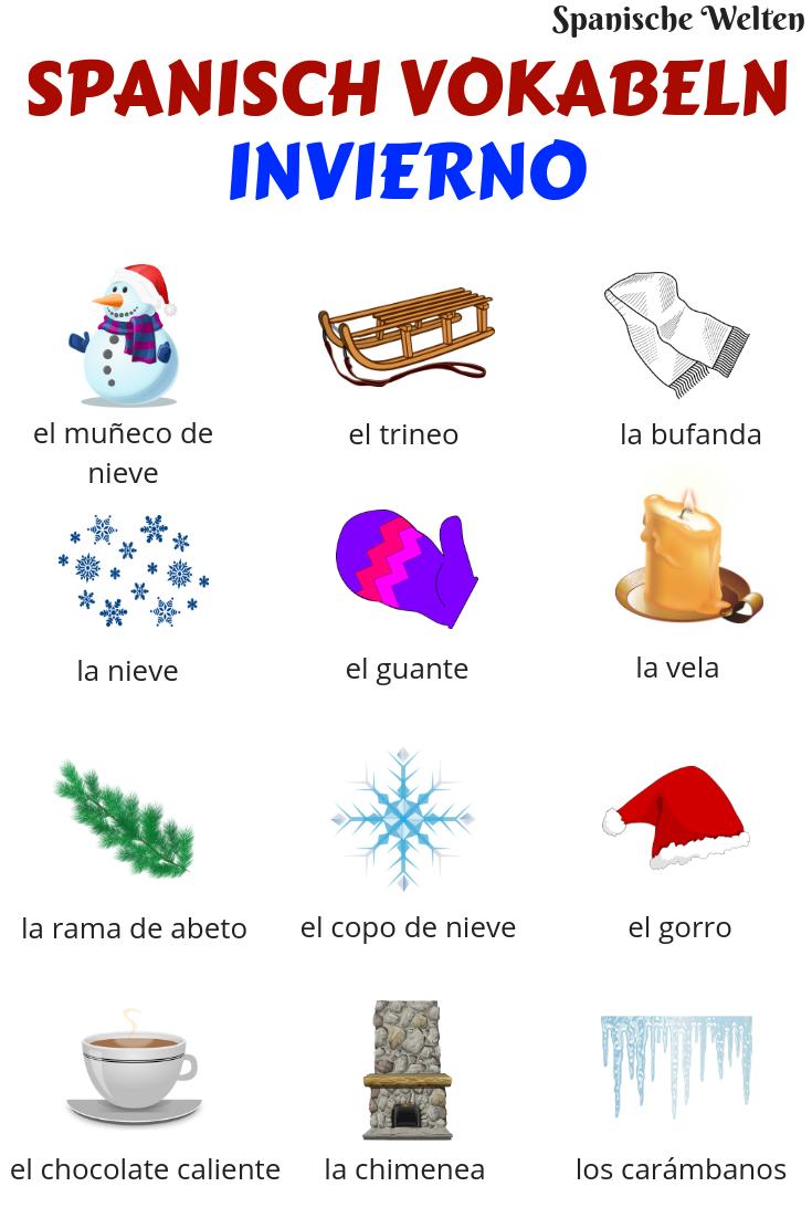 Spanisch Vokabeln: Winter | Spanisch vokabeln, Spanisch