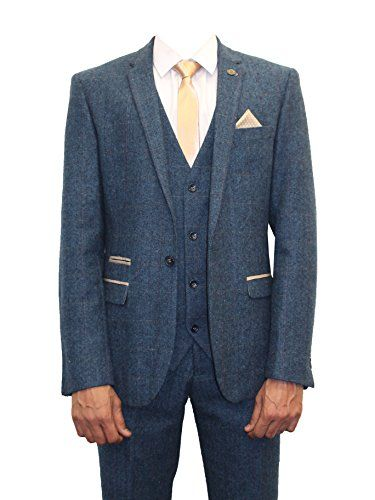 8a3593291e22 Find many great new & used options and get the best deals for Mens Marc  Darcy Designer Blue Tweed Herringbone Checkered Vintage 3 Piece Suit at the  best ...