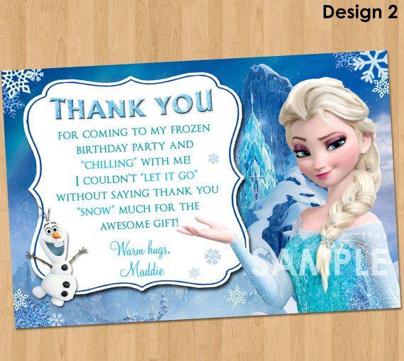 Frozen Thank You Card Disney Frozen Thank You Note Frozen Birthday Party Printable Matches Inv Frozen Birthday Party Frozen Birthday Frozen Birthday Theme