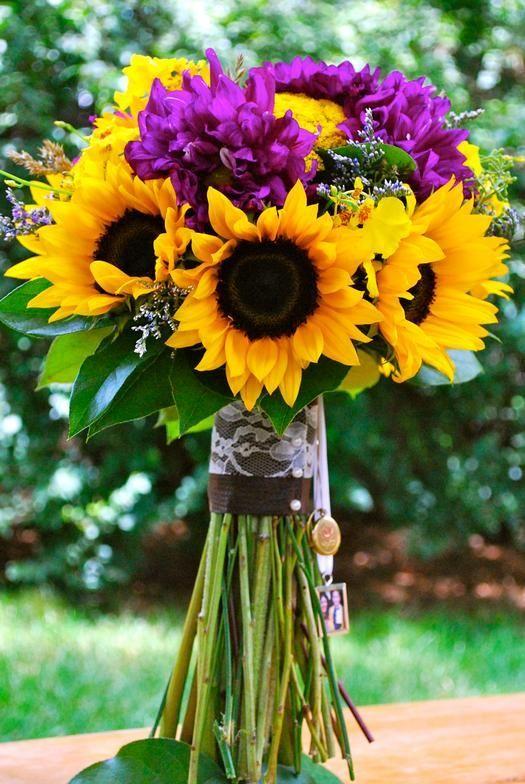 sunflower and purple wedding | Yellow Sunflower, Purple Dahlia ...