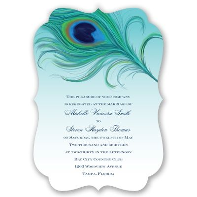 Deep, vivid colors of turquoise and green set the tone for your stylish peacock theme wedding. #WeddingInvitations #PeacockWedding #Diecut http://www.invitationsbydavidsbridal.com/Wedding-Invitations/Peacock/2947-DB33602-Passionate-Peacock--Invitation.pro?&sSource=Pinterest&kw=Birds_DB33602